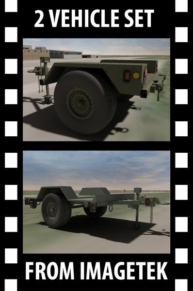 2 military hmmwv towable 3d model