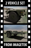 2 military hmmwv towable 3d model
