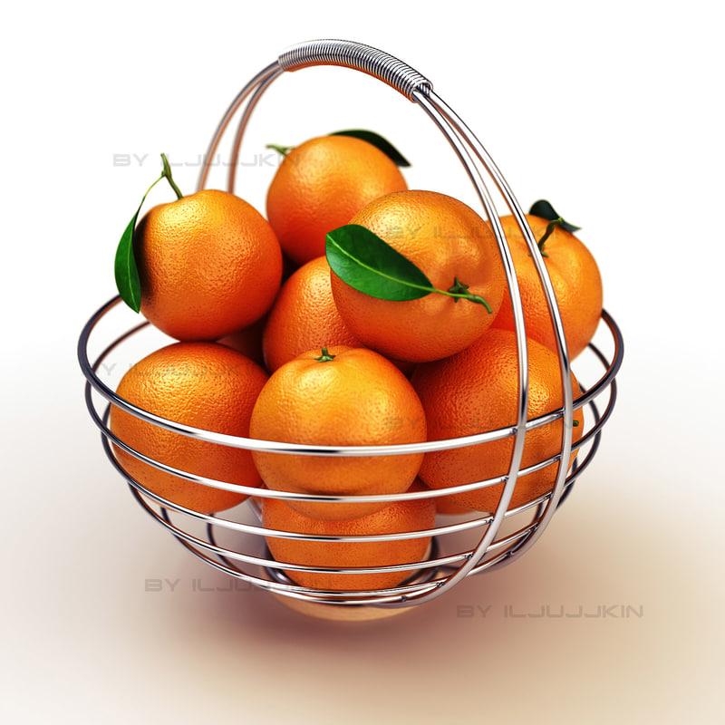 3d model basket oranges