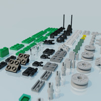 3d lego train model