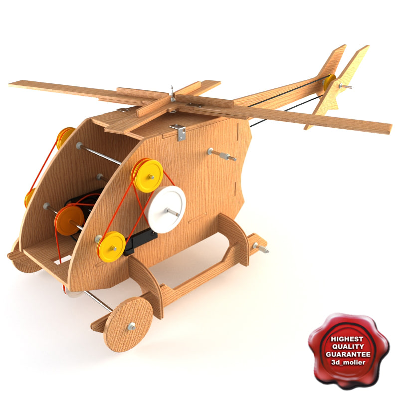 mechanical wooden toy helicopter 3d model
