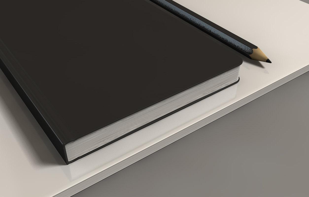 book notebook pencil 3d c4d