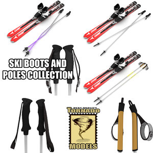 3d skis boots poles model
