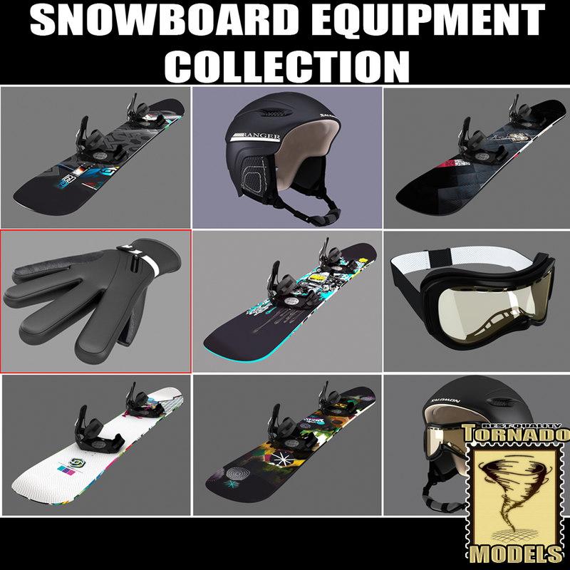 3d model snowboard equipment