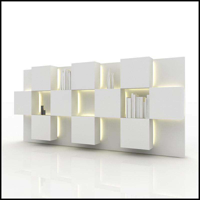 wall unit design interior 3d 3ds