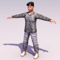 army female soldier 3d model