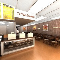 3d cofee shop deli model