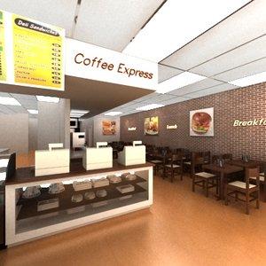 3d cofee shop deli model