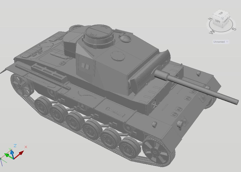 3d model autocad german tank