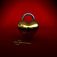 3d heart key