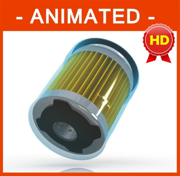 car oil filter parts animation 3d model