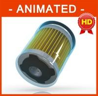 car oil filter parts animation 3d model