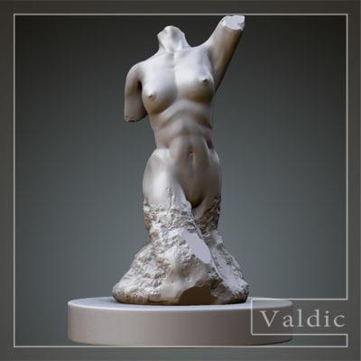 3d sculpture stone model