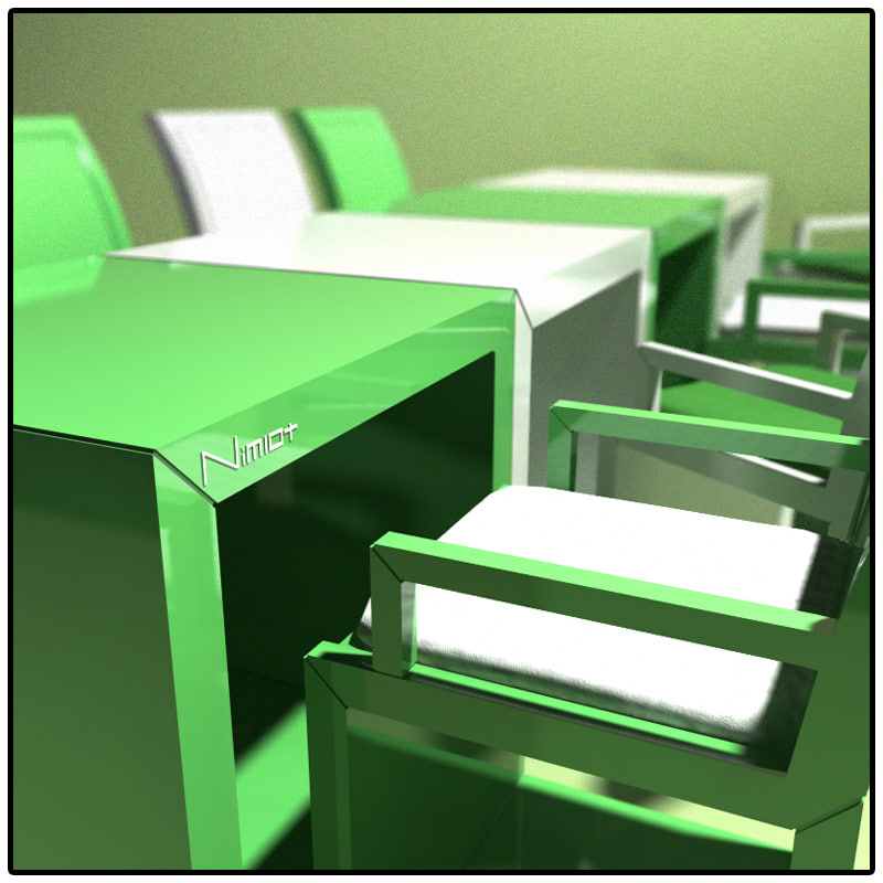 3dsmax modern set chairs table