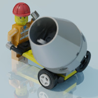 Lego man, construction worker, scene