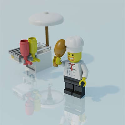 3d model lego man scene chef