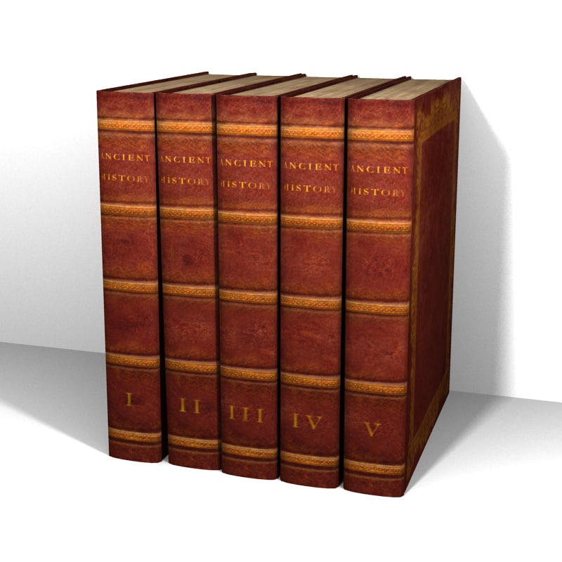 3d model 5 old leather books