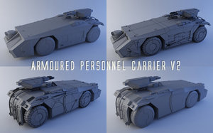 armoured personnel carrier v2 3d model