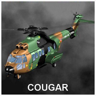 3d model cougar helicopter