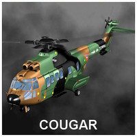 3d model cougar helicopter