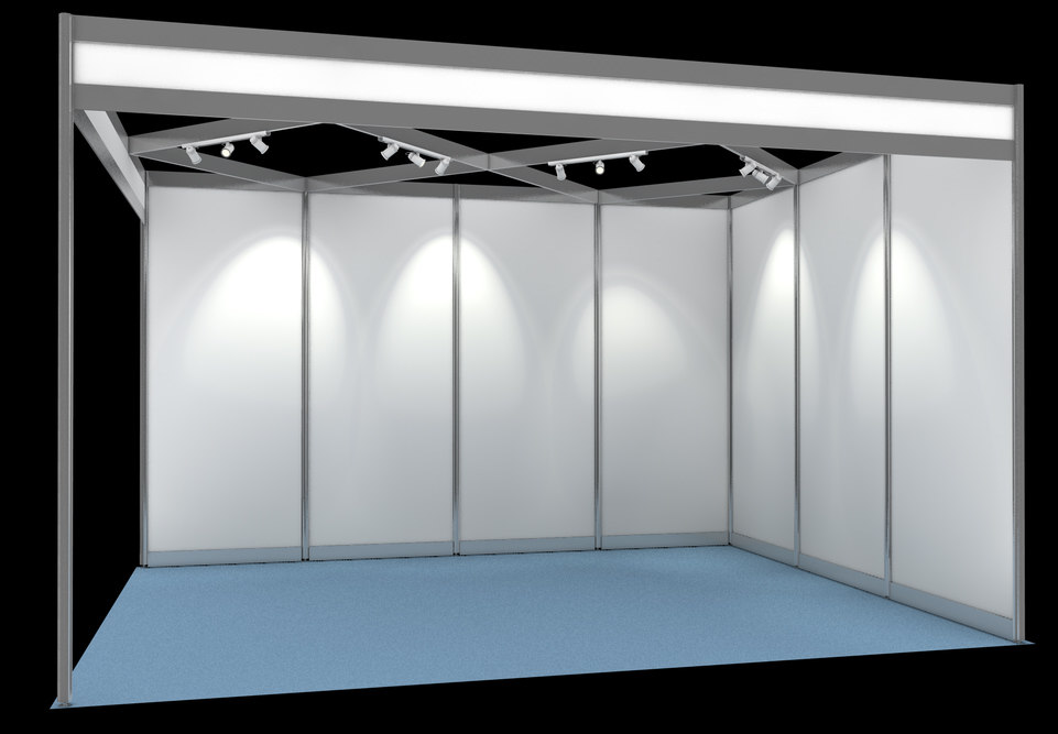 Exhibition Booth Free Download : Shell scheme exhibition display d obj