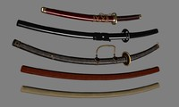 3d model japanese swords scn