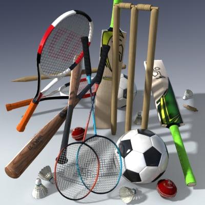 3d sports equipment pack model