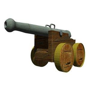 authentic cannon medieval 3d obj