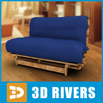 3d model blue mattress cover couch