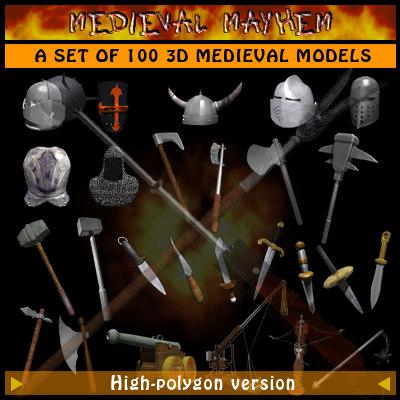 100 daggers swords 3d model