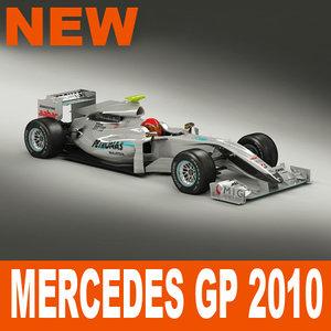 3d mercedes gp f1 2010 model