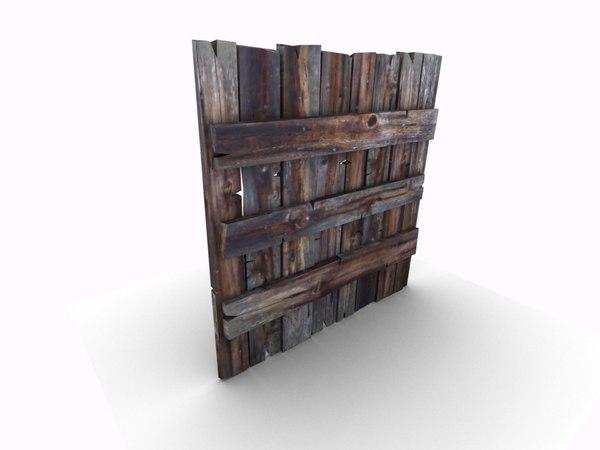 3d wooden vertical wall pallet model