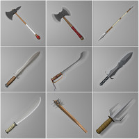 3d weapons axes knife