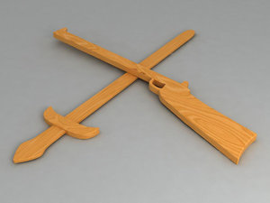 3d model of wooden gun sword