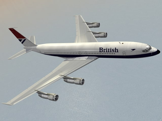 b 707-300 british airways 3d model