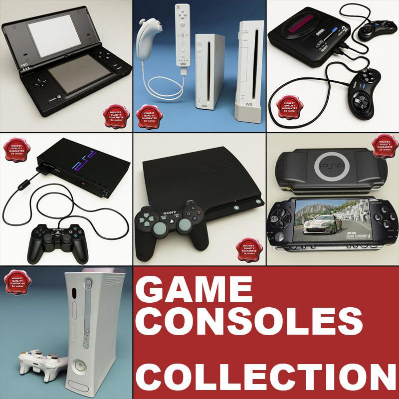 3d model consoles set sony