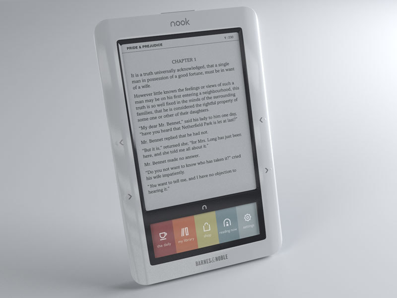 3d model nook ebook reader barnes