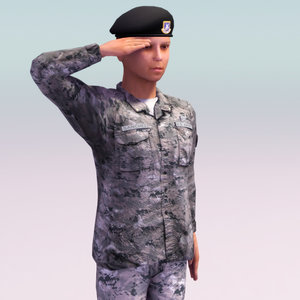 army female soldier rigged 3d max