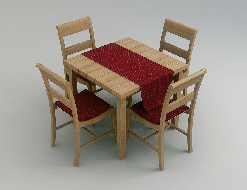 wood chair table 3d max