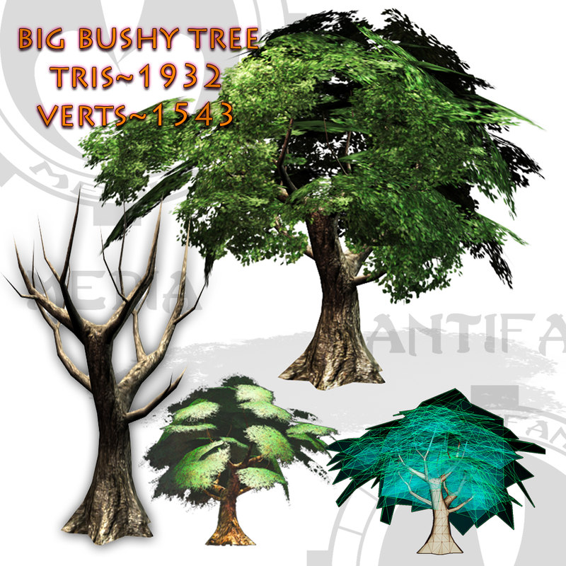 3d big tree bush
