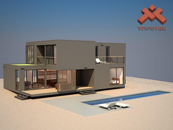 3ds max modern prefab house interior