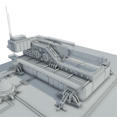 3d sci-fi heavy cannon gun