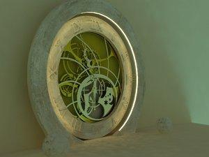 clock scene 3d model