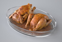 Roasted Chicken in a pyrex dish