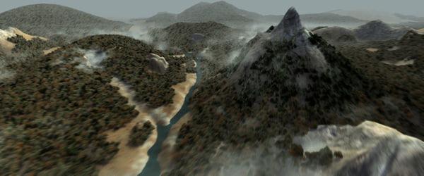 3d model wide landscape trees forest