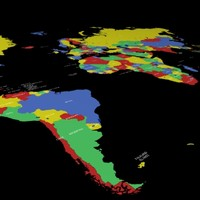 world country names 3d model