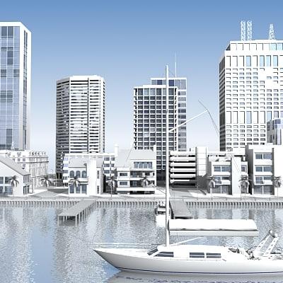 seaside port 3d model