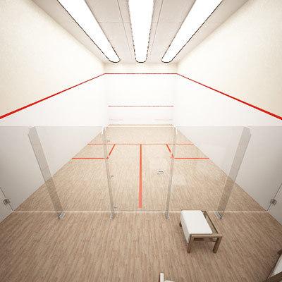 international squash court 3d model