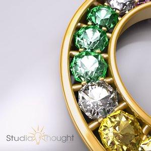 3ds rainbow diamond pendant hdr