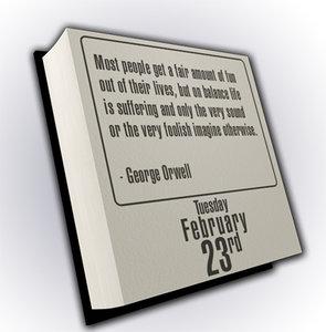 3d daily desk calendar